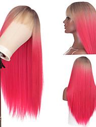 cheap -halloweencostumes european and american new wigs, natural medium-length straight hair, black rose red gradient color chemical fiber full mechanism wig headgear