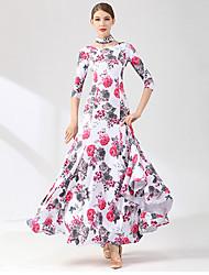 cheap -Ballroom Dance Dress Printing Splicing Women's Training Performance 3/4 Length Sleeve Spandex