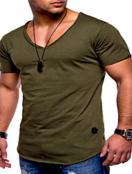 cheap -Men's T shirt Graphic Plus Size Pure Color Short Sleeve Daily Tops Cotton Basic White Black Yellow