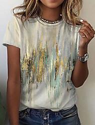 cheap -Women's Abstract Geometric Painting T shirt Graphic Graffiti Print Round Neck Basic Tops Gray