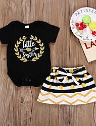 cheap -Baby Girls' Active Polka Dot Print Short Sleeve Regular Regular Clothing Set Black