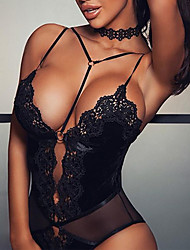 cheap -Women's Lace Sexy Teddy Nightwear Solid Colored Black S M L