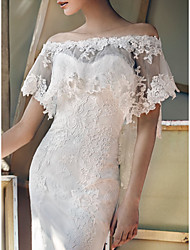 cheap -Short Sleeve Elegant Tulle Wedding / Wedding Party Women's Wrap With Appliques / Solid