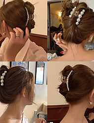cheap -south korea ins temperament retro pearl female back head size bath plate hair ponytail catch clip headdress shark clip