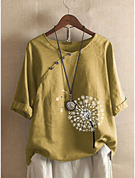 cheap -Women's Plus Size Tops Blouse Shirt Dandelion Half Sleeve Round Neck Light Blue Blushing Pink Brick red Big Size L XL XXL XXXL 4XL