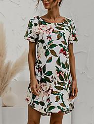 cheap -Women's A Line Dress Knee Length Dress Creamy-white Dark Gray Red Dark Blue Short Sleeve Pattern Spring Summer Casual / Daily 2021 S M L XL XXL XXXL 4XL