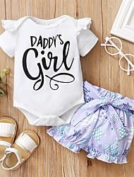 cheap -Baby Girls' Active Print Print Short Sleeve Regular Regular Clothing Set White