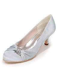 cheap -Women's Wedding Shoes Kitten Heel Round Toe Satin Rhinestone Solid Colored White Purple Red