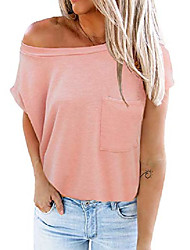 cheap -farysays womens summer crew neck cap sleeve shirts tops with chest pocket casual loose cute pink t shirt basic tees for junior medium
