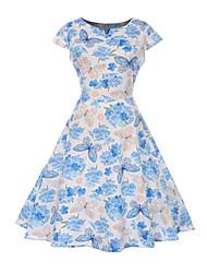 cheap -Audrey Hepburn Polka Dots 1950s Vintage Vacation Dress Dress Rockabilly Prom Dress Women's Costume White / Black / Blue Vintage Cosplay Homecoming Prom Short Sleeve Knee Length