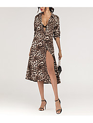 cheap -Women's A Line Dress Knee Length Dress Leopard Independent real shots, stealing pictures must be Long Sleeve Pattern Spring Summer Casual / Daily 2021 S M L XL
