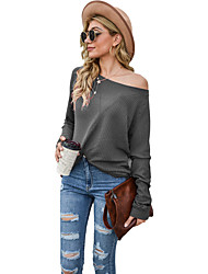 cheap -rockia off shoulder sweater for women sexy cable knit crochet tops solid long sleeve loose jumper pullover sweatshirt blouse black