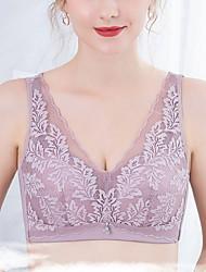 cheap -Women's Plus Size Bras & Bralettes Wireless Full Coverage Lace Solid Color Sexy Nylon Purple
