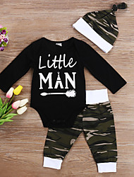 cheap -2 Pieces Baby Boys' Active Camo / Camouflage Letter Print Long Sleeve Regular T-shirt & Pants Clothing Set Black