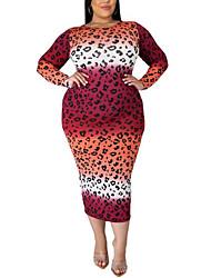 cheap -Women's Plus Size Dress Sheath Dress Maxi long Dress Long Sleeve Leopard Print Spring Summer Purple Red Yellow XL 2XL 3XL 4XL 5XL