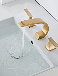cheap -Bathroom Sink Faucet - Widespread Oil-rubbed Bronze / Nickel Brushed / Electroplated Widespread Two Handles Three HolesBath Taps