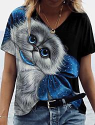 cheap -Women's 3D Cat T shirt Cat 3D Animal Print V Neck Tops Basic Basic Top Black