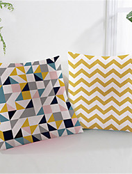 cheap -Double Side Cushion Cover 1PC Faux Linen Soft Geometric Decorative Square  Pillowcase for Sofa Bedroom Car Chair Superior Quality Outdoor Cushion for Patio Garden Farmhouse Bench Couch
