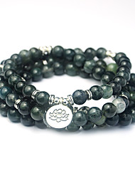 cheap -natural green aquatic agate bracelet 108 yoga bracelet rosary beads natural stone grass flower jewelry