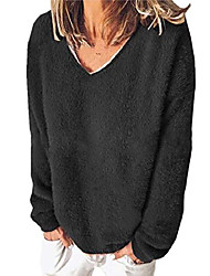 cheap -ladies casual v neck pullover sweatershirt winter top oversize long sleeve sweater black xl