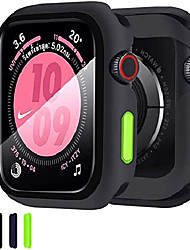 cheap -Smart watch Case compatible apple watch 44mm series 6/se/5/4 case with tempered glass film silicone case with scratch resistant screen protector tpu bumper case full protective cover  - black