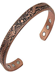 cheap -antiquity sian art red copper magnetic cuff bracelet for men and women - dragon and phoenix lucky copper bracelet