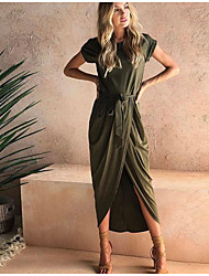 cheap -Women's A Line Dress Knee Length Dress A large number of spot goods shipped within 24 hours Black Green Gray Short Sleeve Solid Color Summer Casual 2021 S M L XL XXL XXXL