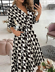 cheap -Women's A Line Dress Midi Dress Letter printing Butterfly print Big wave point Small dots Diamond printing khaki Sky Blue Black Red Army Green Long Sleeve Print Spring Summer Casual / Daily 2021 S M
