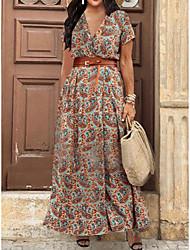 cheap -Women's Plus Size Dress Swing Dress Maxi long Dress Short Sleeve Floral Graphic Paisley Print V Neck Casual Spring Summer Brown XL XXL 3XL 4XL 5XL