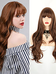 cheap -Synthetic Long Loose Wave Wig With Air Bangs 26 Inch Middle Parting Light Brown Hair Wigs For Women Daily Party Cosplay Club Use