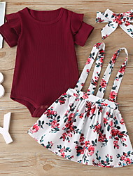 cheap -Baby Girls' Active Floral Print Short Sleeve Regular Clothing Set Wine
