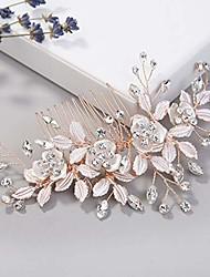 cheap -milisente bridal head pieces flower crystal women bridal comb for bride bridesmaid wedding hair accessories(rose gold)