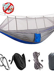cheap -Camping Hammock with Mosquito Net Double Hammock Outdoor Anti-Mosquito Ultra Light (UL) Moistureproof Well-ventilated Rectangular Parachute Nylon with Carabiners and Tree Straps for 2 person Camping