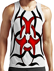 cheap -Men's Unisex Tank Top Undershirt Shirt 3D Print Color Block Graphic Prints Plus Size Print Sleeveless Casual Tops Basic Fashion Designer Breathable Round Neck White / Sports / Summer