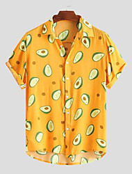 cheap -Men's Shirt Avocado Button-Down Short Sleeve Casual Tops Lightweight Casual Fashion Breathable White Black Yellow