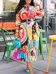 cheap -Women's Plus Size Dress Swing Dress Midi Dress Long Sleeve Print Patchwork Print Casual Fall Rainbow S M L XL XXL (belt not included)
