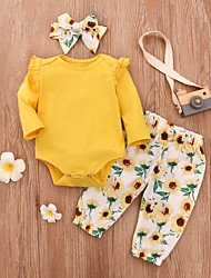 cheap -Baby Girls' Vintage Sun Flower Floral Print Long Sleeve Regular Regular Clothing Set Yellow