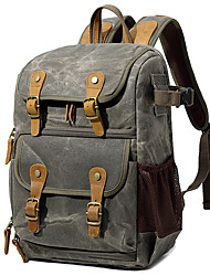 cheap -Men's Canvas Commuter Backpack Breathable Zipper Geometric Pattern Camping & Hiking Black Grey Army Green Khaki