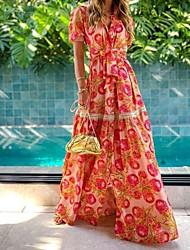 baratos -Mulheres Vestido Swing Vestido maxi longo Vermelho Manga Curta Floral Verão Decote V Elegante 2021 S M L XL XXL