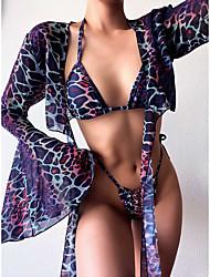 cheap -Women's Bikini 2 Piece Swimsuit Print Three-piece suit Bikini smock Swimwear Bathing Suits