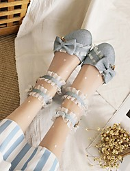cheap -Women's Lolita Shoes Chunky Heel Round Toe PU Synthetics Black Blue Pink