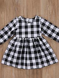 cheap -Baby Girls' Active Plaid Print Long Sleeve Dress Black