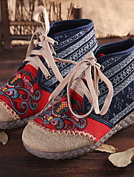 cheap -Women's Sneakers Canvas Shoes Flat Heel Round Toe Booties Ankle Boots Linen Flower Floral White Red Blue / Booties / Ankle Boots