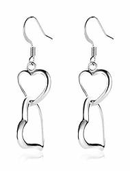 cheap -coadipress double love heart layered earrings for girls elegant silver gold plated dangle drop hooks earrings jewelry birthday gifts for women girlfriend (silver)