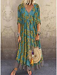 baratos -Mulheres Vestido A Line Vestido maxi longo Amarelo Escuro Vermelho Verde Azul Escuro Cinzento Meia Manga Floral Multi Camadas Botão Estampado Primavera Verão Decote em V Profundo quente Casual Vintage