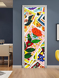 "cheap -2pcs Self-adhesive Creative Cartoon Puzzle Door Stickers For Living Room Diy Decorative Home Waterproof Wall Stickers 30.3""x78.7""(77x200cm), 2 PCS Set"