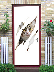 "cheap -2pcs Self-adhesive Creative Cowardly Cat Door Stickers Living Room Diy Decorative Home Waterproof Wall Stickers 30.3""x78.7""(77x200cm), 2 PCS Set"