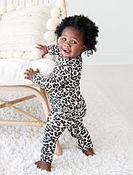 cheap -Baby Girls' Active Leopard Print Long Sleeve Romper White