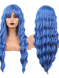 cheap -Cosplay Costume Wig Synthetic Wig Wavy Bouncy Curl Middle Part Wig 24 inch Royal Blue Synthetic Hair Women's Odor Free Fashionable Design Soft Blue