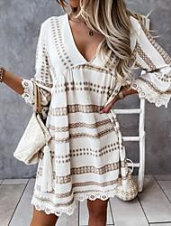 cheap -Women's A Line Dress Short Mini Dress Black Apricot Half Sleeve Geometric Lace Print Spring Summer V Neck Casual / Daily 2021 S M L XL 2XL / Holiday